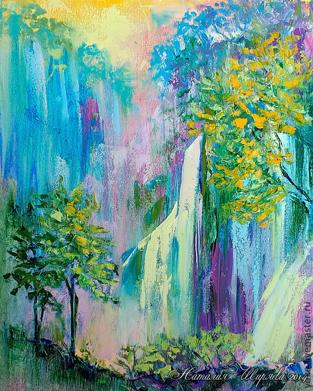 'Northern Thailand. The Mok Fah waterfall' original oil painting on canvas, Pictures, Voronezh,  Фото №1