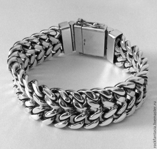 Украшения для мужчин, ручной работы. Ярмарка Мастеров - ручная работа. Купить Панцирный двойной серебряный мужской браслет широкий тяжелый. Handmade.