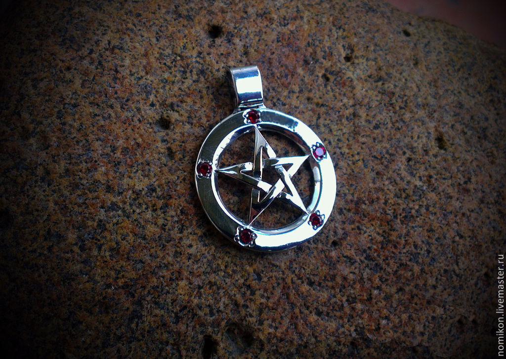 Классическая серебряная пентаграмма с рубинами, Подвеска, Санкт-Петербург,  Фото №1