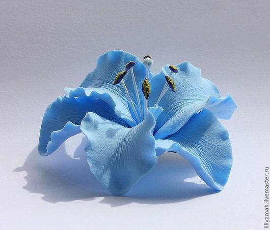 Заколки ручной работы. Ярмарка Мастеров - ручная работа. Купить Голубая лилия (зажим для волос). Handmade. Голубой, голубой цветок