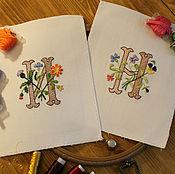Подарки к праздникам handmade. Livemaster - original item Hand embroidery monogram custom. Handmade.