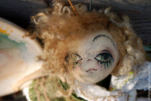 """Коллекционные куклы ручной работы. Ярмарка Мастеров - ручная работа. Купить """"Polly Green""""... Текстильная бабочка.. Handmade. Хаки"""