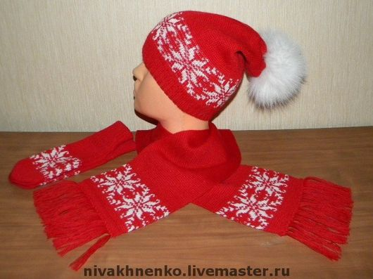 Sets of Items handmade. Livemaster - handmade. Buy Set of knitted beanie, scarf, mittens.Hat knitted, ornament