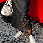 Одежда handmade. Livemaster - original item Warm, long denim skirt, Winter berry. Handmade.