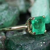 Rings handmade. Livemaster - original item Emerald Solitaire 1.50cts Colombian Emerald & Yellow Gold Solitaire Ri. Handmade.