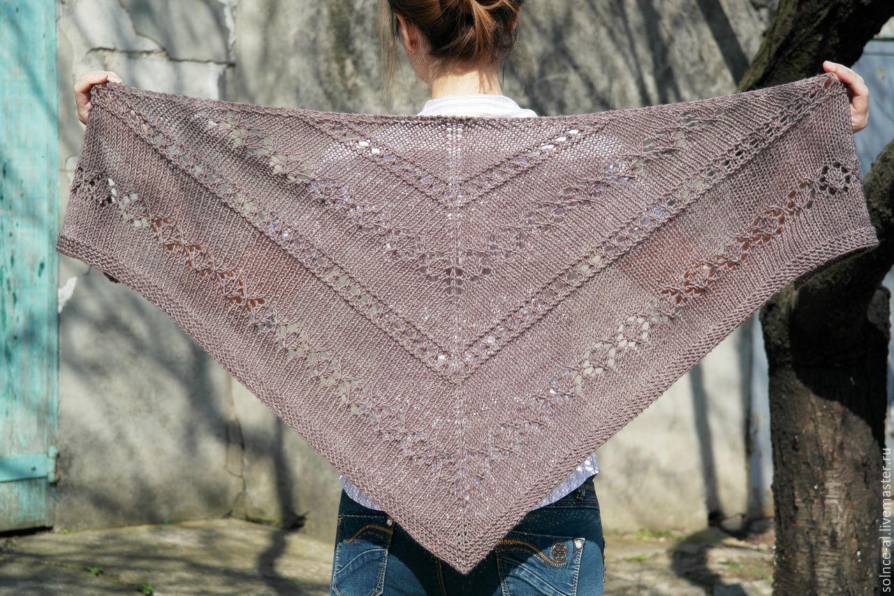 Вязание спицами косынки или шали