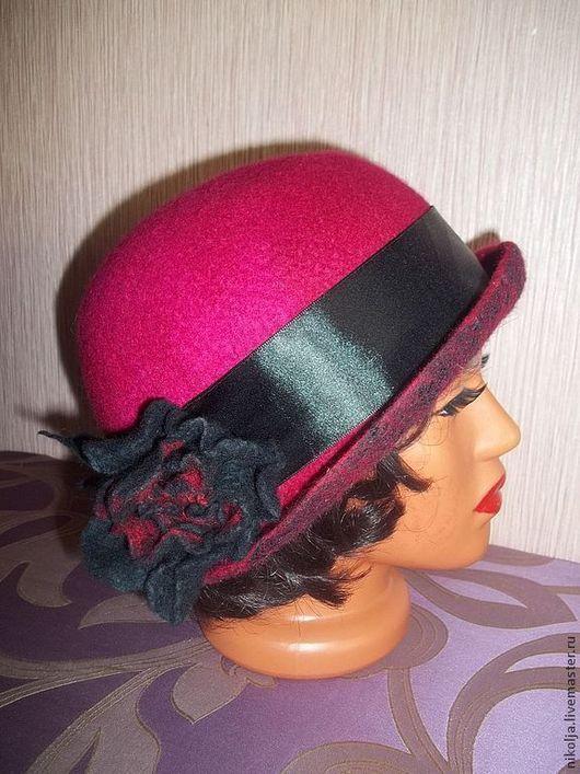 Шляпка валяная, шляпка ручной работы, шляпка, валяная шляпка, шляпка из войлока, шляпка из шерсти