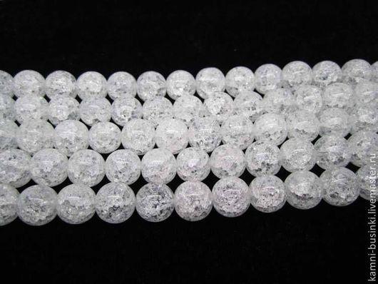 Белый Кварц кракле Сахарный 8мм, 10мм, 12мм бусина шар. Бусины кварца для колье, кварц бусины шары для браслетов, белый кварц бусины для серег.