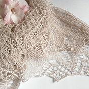 Шали ручной работы. Ярмарка Мастеров - ручная работа Шаль ажурная вязаная Ода, шаль спицами кашемировая, шаль на свадьбу. Handmade.