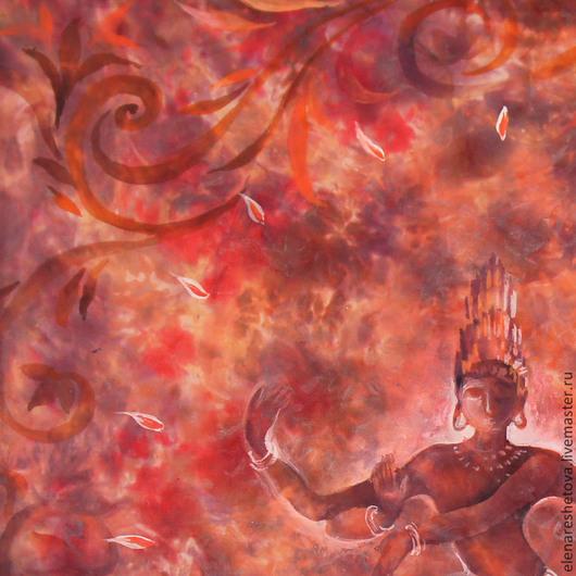 Батик картина Танец Шивы. Панно батик. Бордовый. Оранжевый. Красный. Фиолетовый. Коралловый. Медитация. Романтичный. Индийские мотивы. Этнический. Картины для спальни. Подарок подруге. Свадебные подар