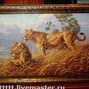 Картины и панно ручной работы. Ярмарка Мастеров - ручная работа вышивка крестом Африканские львы. Handmade.