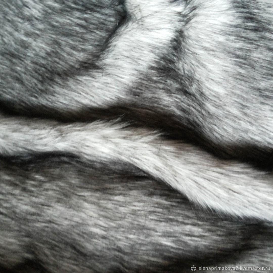 Искусственный Мех белый с темными концами под волка ворс 60 мм, Мех, Санкт-Петербург,  Фото №1