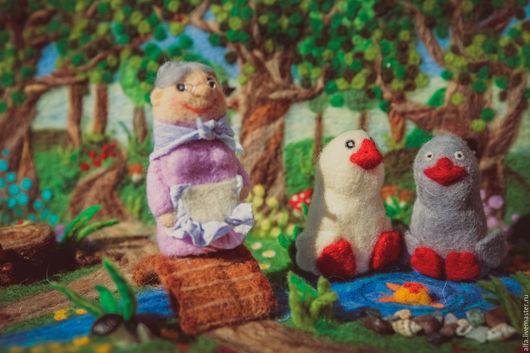 Кукольный театр ручной работы. Ярмарка Мастеров - ручная работа. Купить пальчиковый театр Два веселых гуся. Handmade. Разноцветный