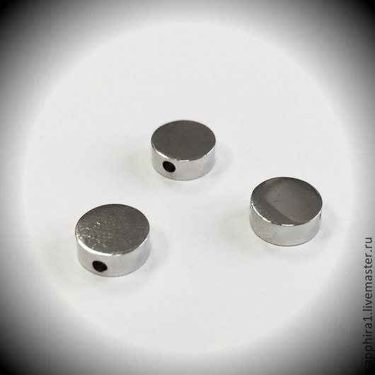 Для украшений ручной работы. Ярмарка Мастеров - ручная работа. Купить Бусина Шайба 8 мм родированная. Handmade. Серебряный