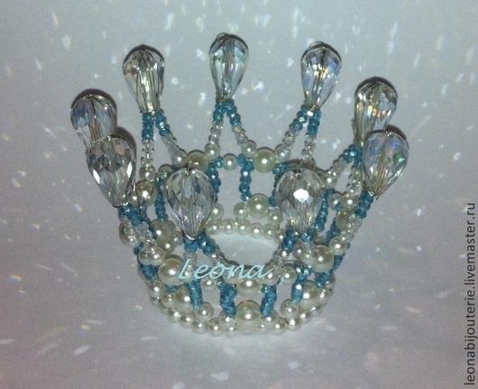 Диадемы, обручи ручной работы. Ярмарка Мастеров - ручная работа. Купить Корона. Handmade. Голубой, корона для фотосессии, корона из бисера