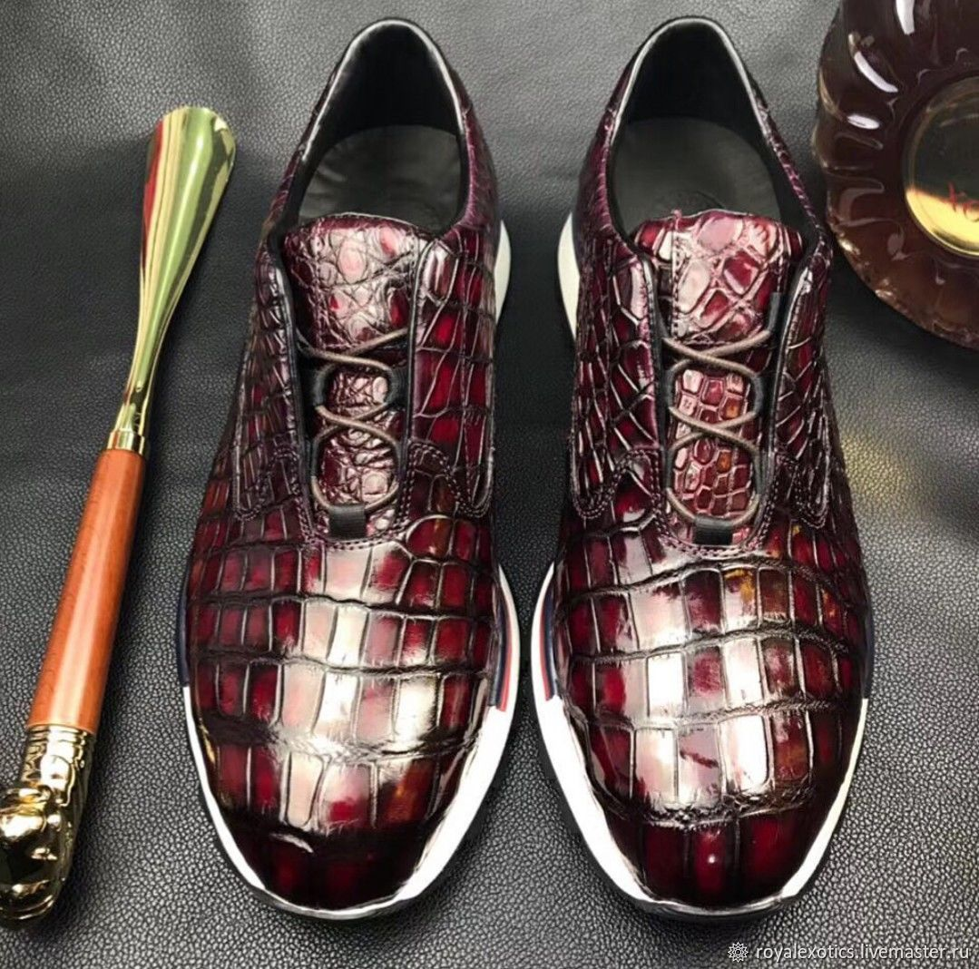 Sneakers made of crocodile skin, in maroon color, to order!, Sneakers, Tosno,  Фото №1