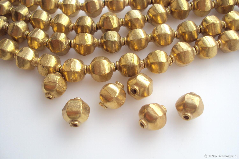 Золотистые шестигранные бусины 11х12мм, Фурнитура, Москва,  Фото №1