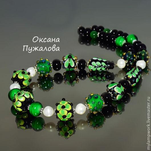 Колье зеленое `Изумрудные грезы`, подарок подруге, бусы