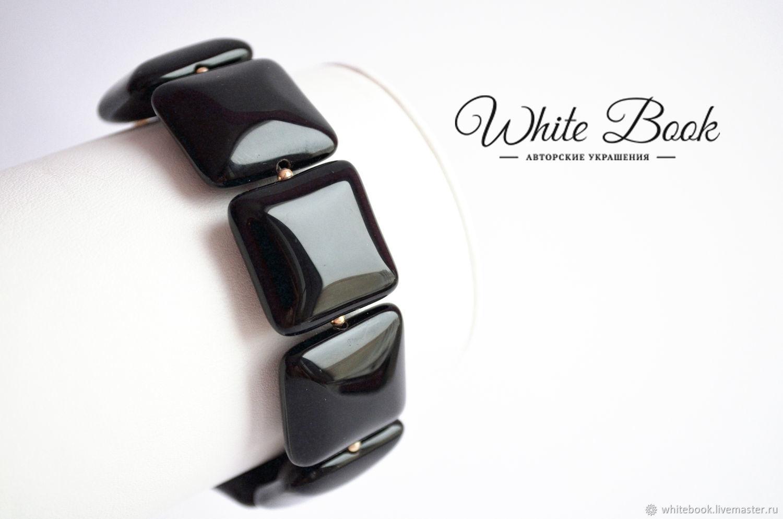 Black Agate Squares Bracelet, Stylish bracelet, evening bracelet, Bead bracelet, Moscow,  Фото №1