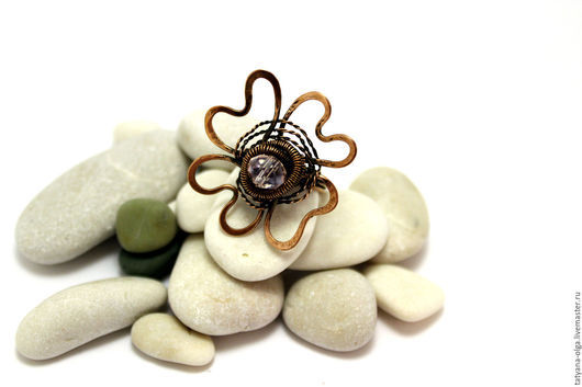 Кольцо медное Цветок