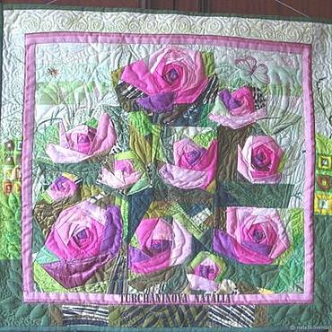 """Картины и панно ручной работы. Ярмарка Мастеров - ручная работа Арт-квилт """"Ах, какая заноза моя розова роза"""". Handmade."""