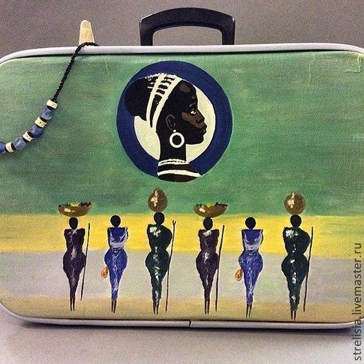 """Чемоданы ручной работы. Ярмарка Мастеров - ручная работа. Купить """"В стиле этно"""" Декор  винтажного чемодана. Handmade. Чемоданчик"""