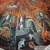 """Зонты ручной работы. Ярмарка Мастеров - ручная работа """"Кошачий Городок"""" зонт с рисунком ручная роспись в подарок. Handmade."""