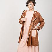 Одежда ручной работы. Ярмарка Мастеров - ручная работа Кардиган из бархата коричневый с розовым. Handmade.