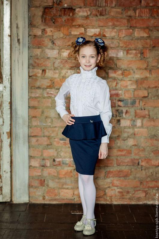 Одежда для девочек, ручной работы. Ярмарка Мастеров - ручная работа. Купить Юбка прямая с баской, для школы (Арт. 88 ). Handmade.