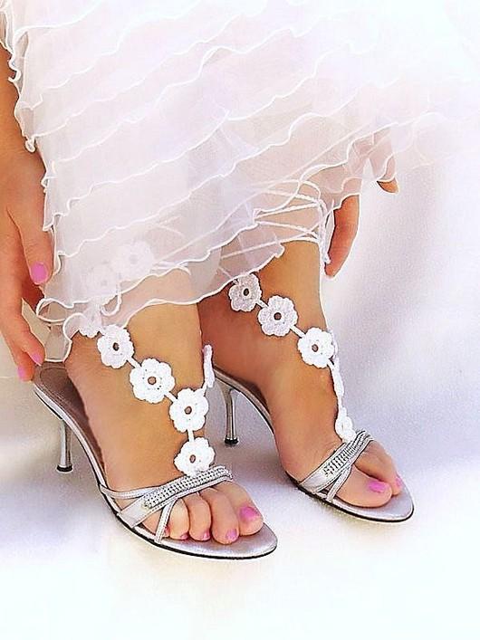Одежда и аксессуары ручной работы. Ярмарка Мастеров - ручная работа. Купить Свадебное украшение для ног,вязаные босые сандалии. Handmade.