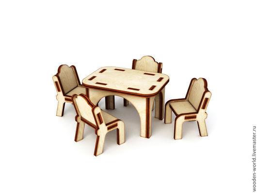 Куклы и игрушки ручной работы. Ярмарка Мастеров - ручная работа. Купить Кукольный кухонный столик со стульями  заготовка. Handmade.