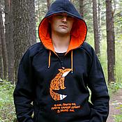 Одежда handmade. Livemaster - original item Hoodie, cool men`s sweatshirt Fox black sweatshirt. Handmade.
