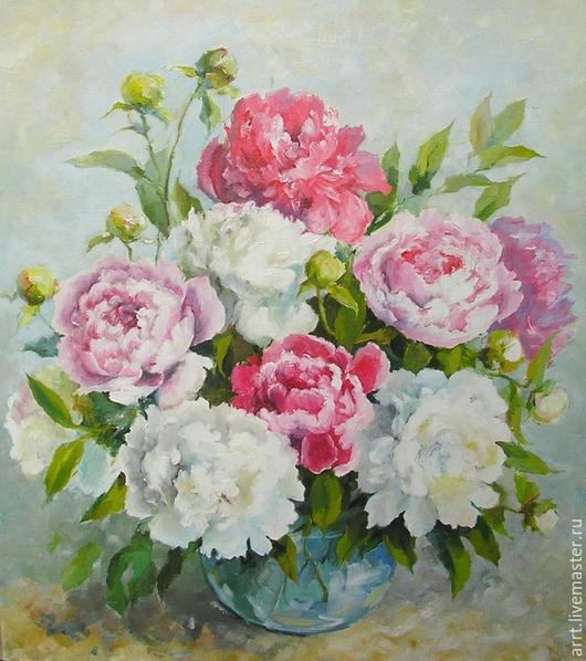 Картины цветов ручной работы. Ярмарка Мастеров - ручная работа. Купить Пионы розовые и белые Картина холст масло 45х50 см. Handmade.