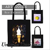 Сумки и аксессуары handmade. Livemaster - original item Bag: Eco-bag HORN made of cotton with an author`s print. Handmade.