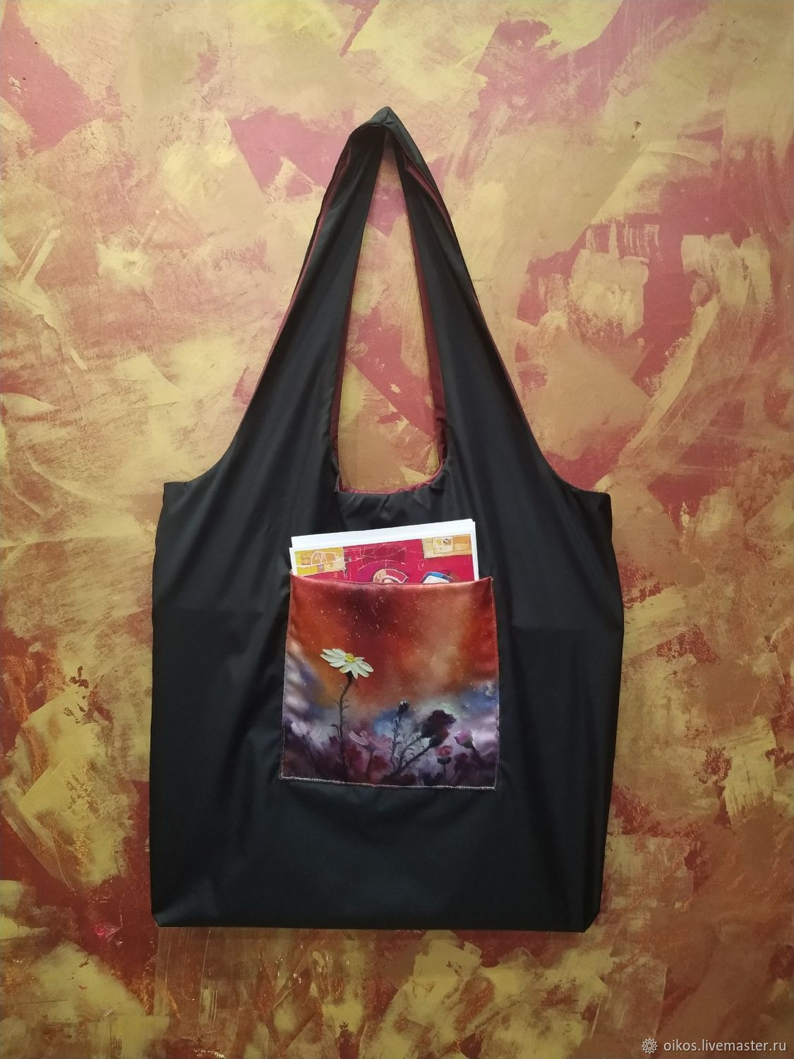 Large string Bag with pocket eco bag black with flowers gift to woman, String bag, St. Petersburg,  Фото №1