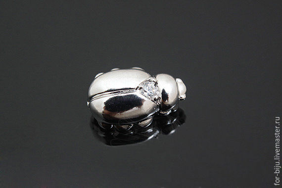 Connector bead with CZ, size 8*12 mm, thickness 6 mm, material brass with rhodium plated, made in South Korea (Ref. 2578)