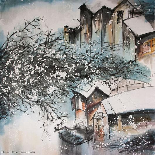 Шелковый платок батик `Деревня в Китае`. Платок батик, шелковый платок. Диана Чентукова. Diana Chentukova. Batik