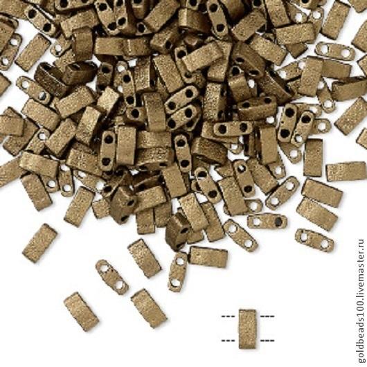 Для украшений ручной работы. Ярмарка Мастеров - ручная работа. Купить MIYUKI Half-Tila 2006 opaque matte metallic dark bronze. Handmade.