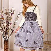Одежда handmade. Livemaster - original item Winter dress, Warm gray skirt, midi dress, Waxwings, Jumper dress. Handmade.