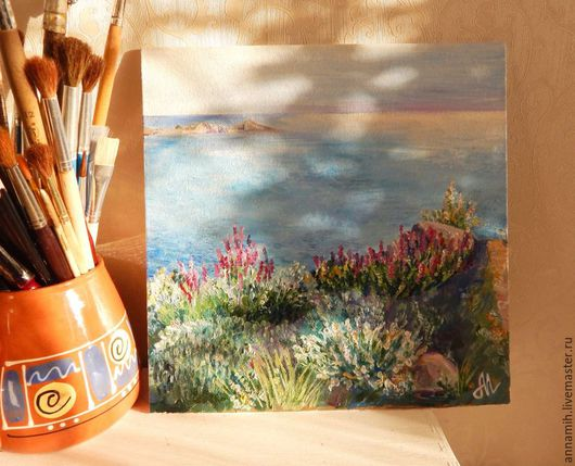 """Пейзаж ручной работы. Ярмарка Мастеров - ручная работа. Купить """"Травы Карадага"""" картина маслом. Handmade. Картина в подарок, небо"""