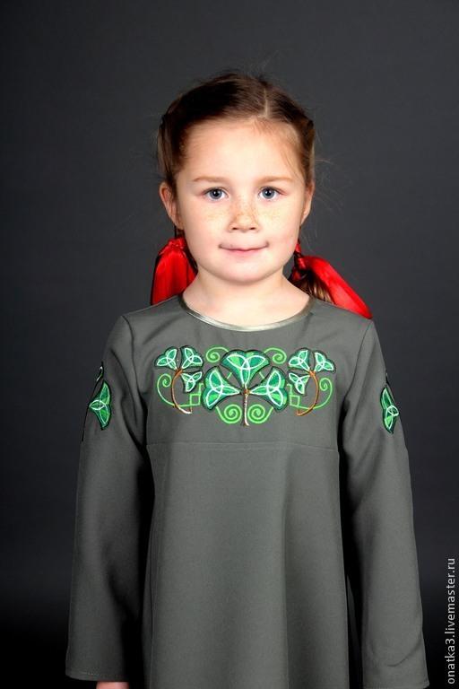 Одежда для девочек, ручной работы. Ярмарка Мастеров - ручная работа. Купить Платье с ирландским орнаментом. Handmade. Вышивка, необычное платье