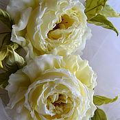 Украшения handmade. Livemaster - original item silk flowers brooch savoiardi. Handmade.