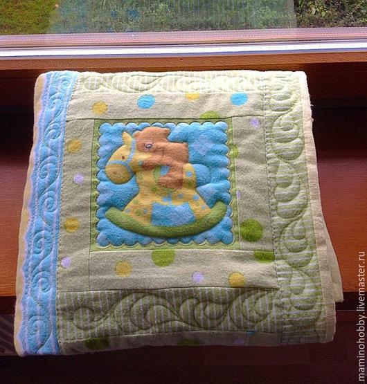 Одеяло лоскутное байковое новорожденному в подарок