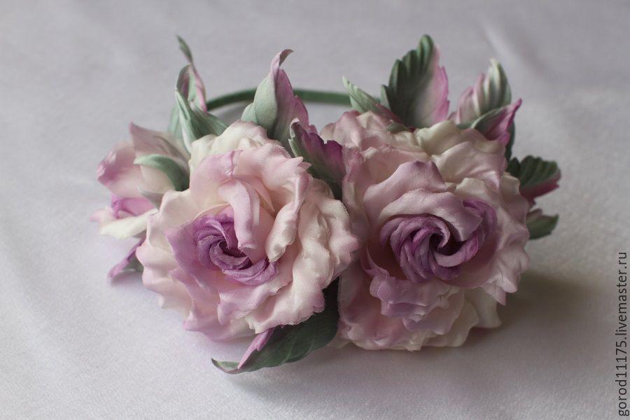 """Ободок для волос из шелковых роз """" Сиреневый туман"""". Ручная работа, Цветы, Геленджик, Фото №1"""