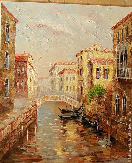 Город ручной работы. Ярмарка Мастеров - ручная работа. Купить Венеция. Handmade. Бежевый, картина для интерьера, городской пейзаж, венеция