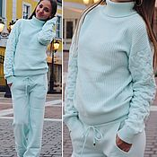 Одежда handmade. Livemaster - original item Cashmere costume with braids on the sleeves Delicate mint. Handmade.