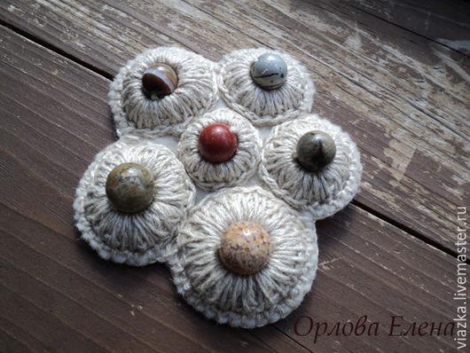 Сухоцвет, вязаная брошь, льняная брошь, брошь ручной работы, оригинальное украшение, ручная работа, Орлова Елена