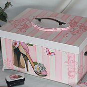 """Для дома и интерьера ручной работы. Ярмарка Мастеров - ручная работа Короб для обувных принадлежностей """"Розовые грезы"""". Handmade."""