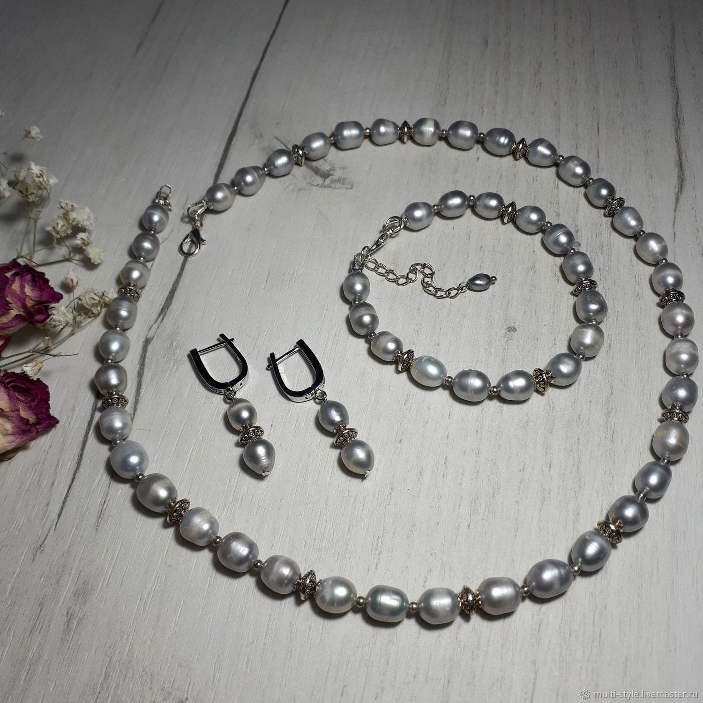 K-t of grey Baroque. pearls 'Danaya' (necklace with-GI bracelet), Jewelry Sets, St. Petersburg,  Фото №1