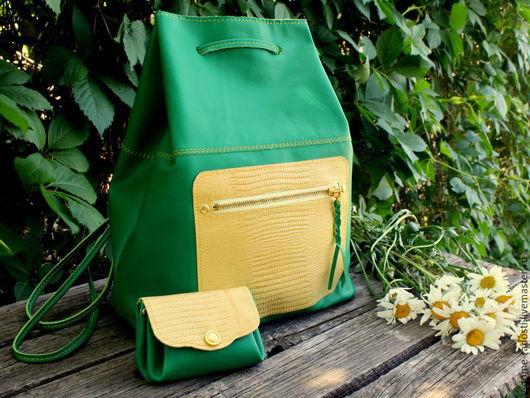 Кожаный рюкзак, рюкзак из натуральной кожи, яркий рюкзак, рюкзак на лето, летний рюкзак. Зеленый рюкзак. Рюкзак для девушки, купить рюкзак. Мастер Сечкина Юлия http://www.livemaster.ru/v-dome-radosti